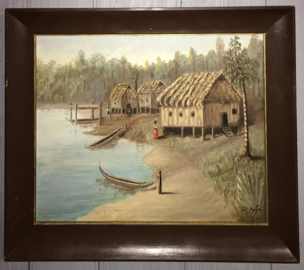 Bert Hudson Oil On Board Of Indian Village