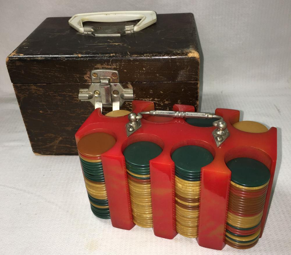 Bakelite Poker Chips And Carrier In Wooden Case