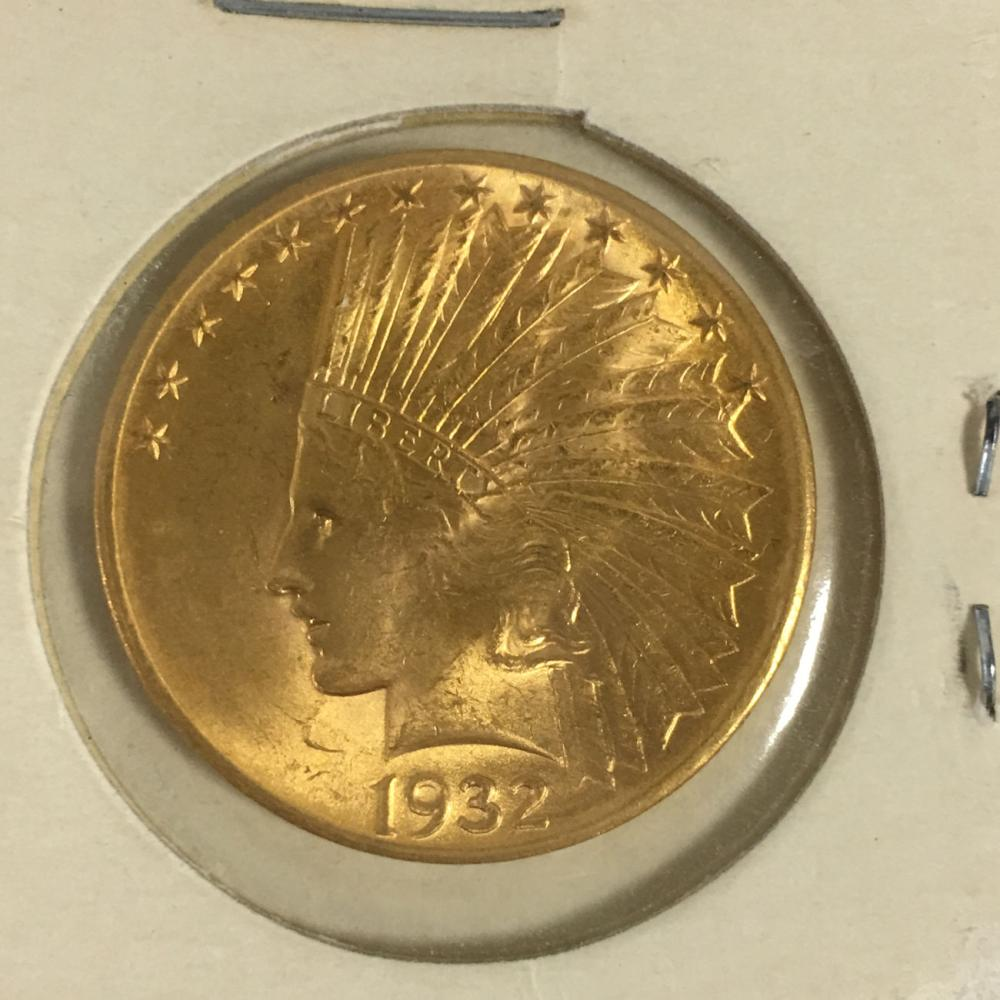 1932 Indian Head Gold $10 Eagle Coin