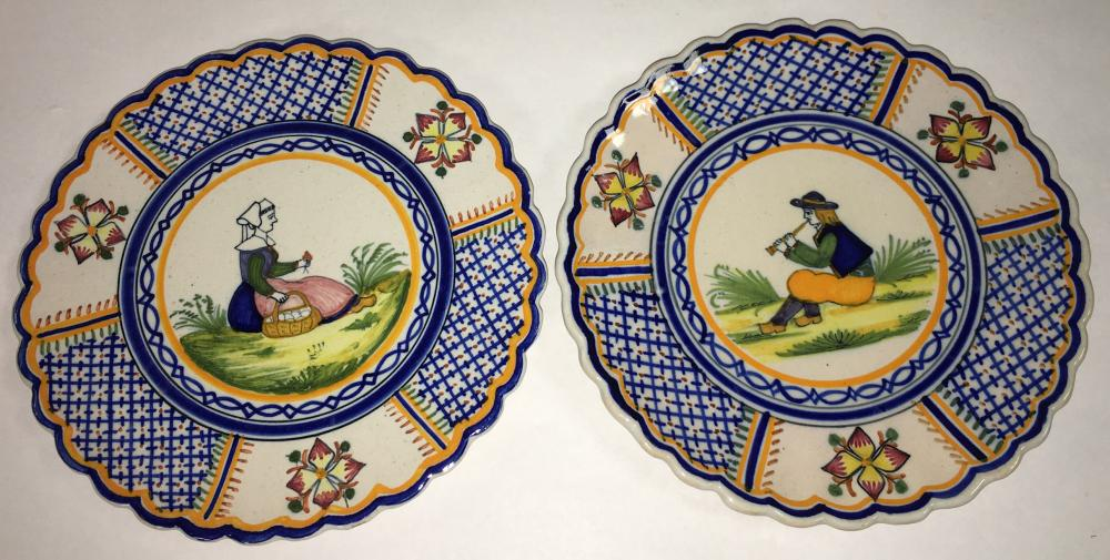 Pair Of Henriot Quimper Plates