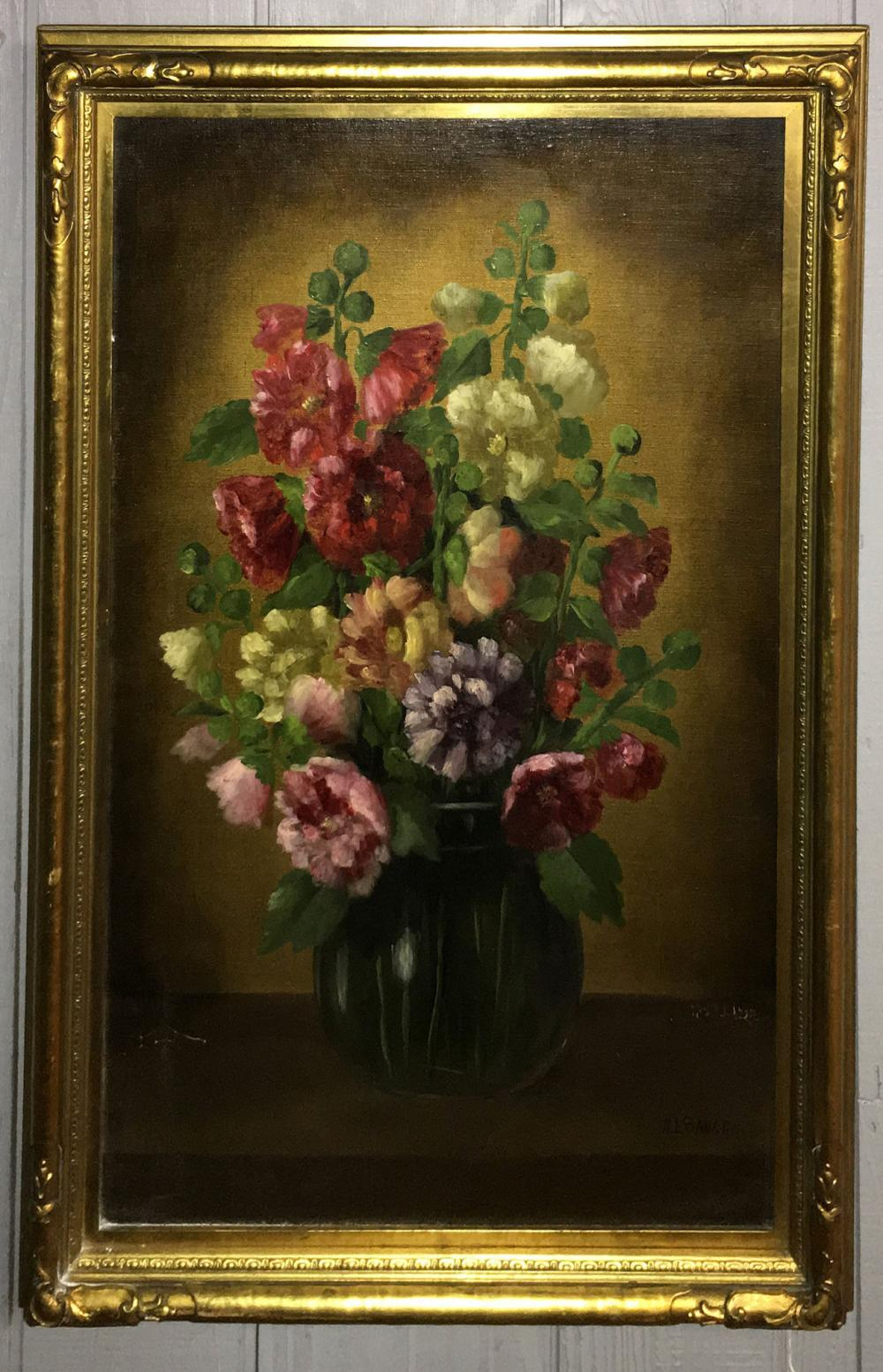 Henry Leon Sanger Oil On Board Flower Still Life