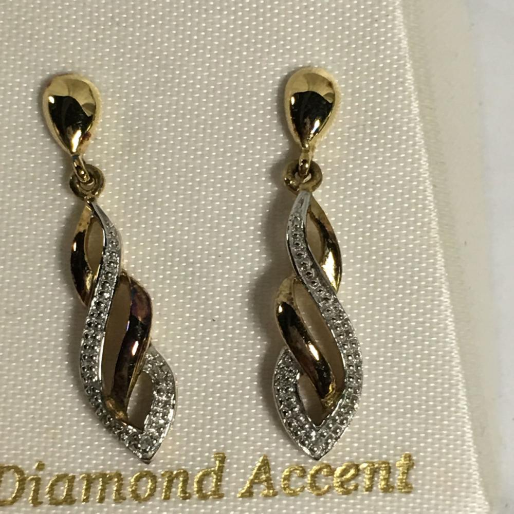 18k & Sterling Silver & Diamond Accent Earrings