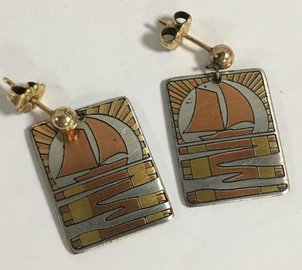 Pair Of Reed & Barton Damascene Earrings