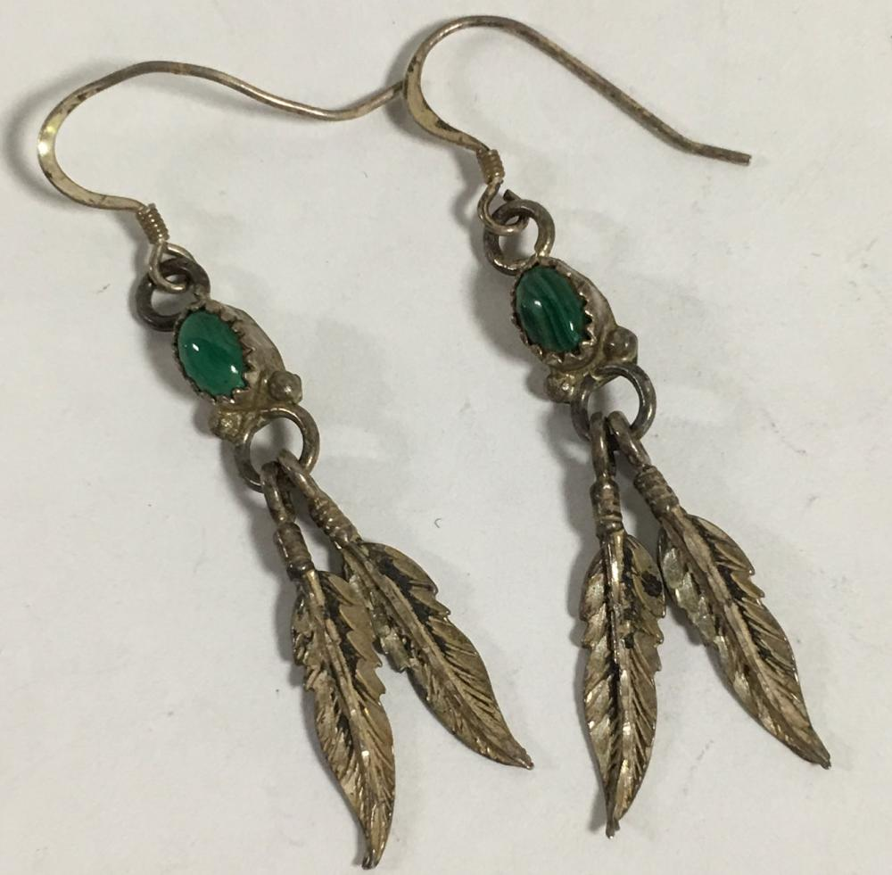Pair Of Sterling & Malachite Feather Earrings