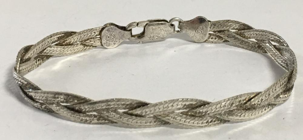 Italy Sterling Silver Braided Bracelet