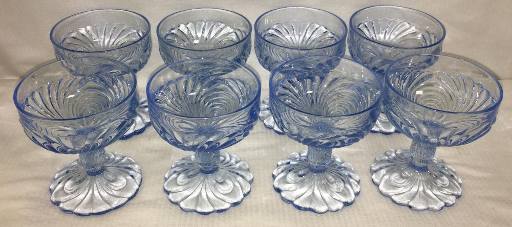 8 Cambridge Caprice Moonlight Blue Glass Sherbets