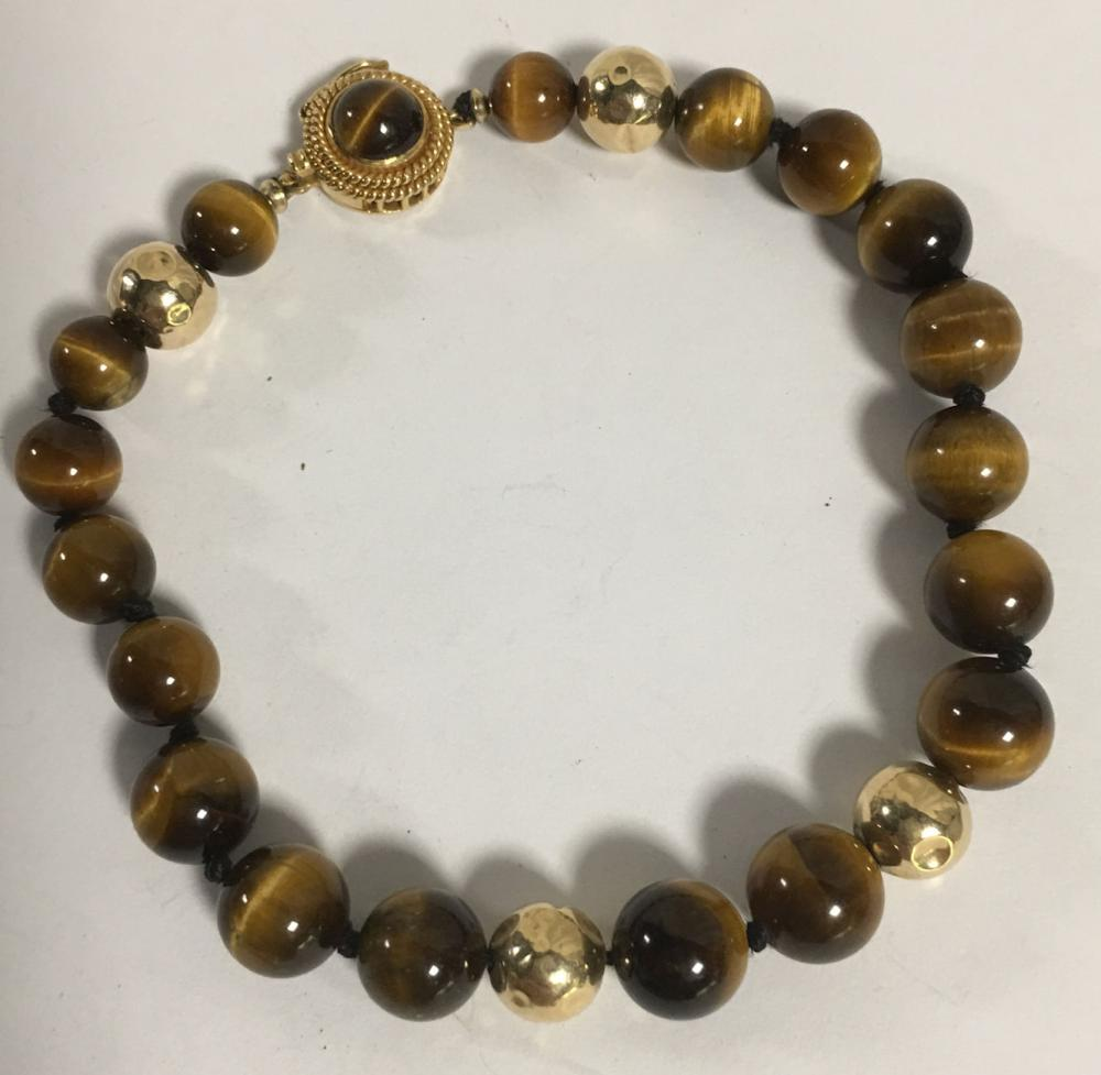 14k Gold And Tiger's Eye Bracelet