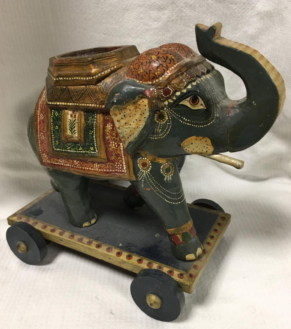 Hand Decorated Elephant Carving