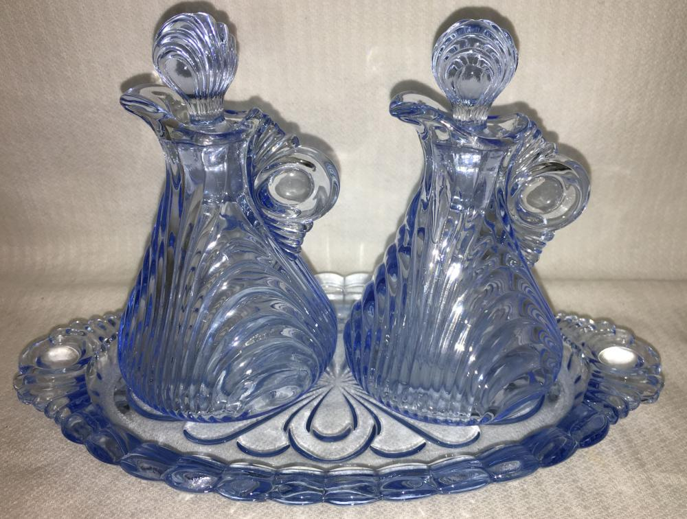 Cambridge Caprice Moonlight Blue Glass Condiment