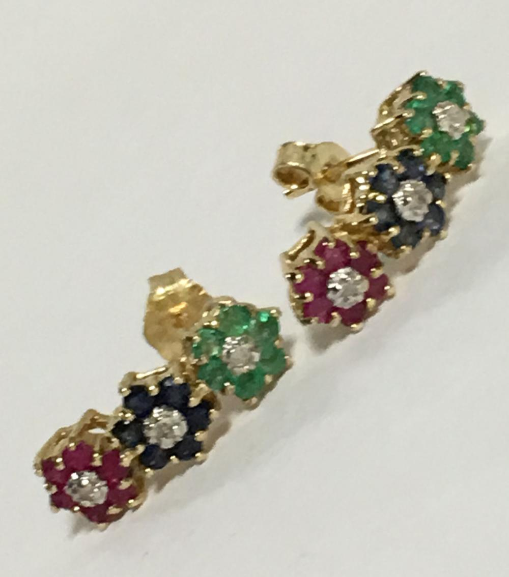14k Gold, Ruby, Emerald, Sapphire Earrings