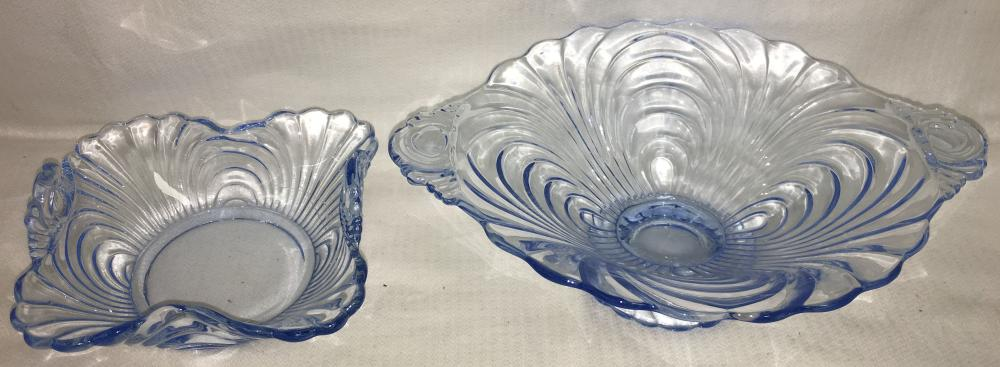 2 Cambridge Caprice Moonlight Blue Glass Bowls