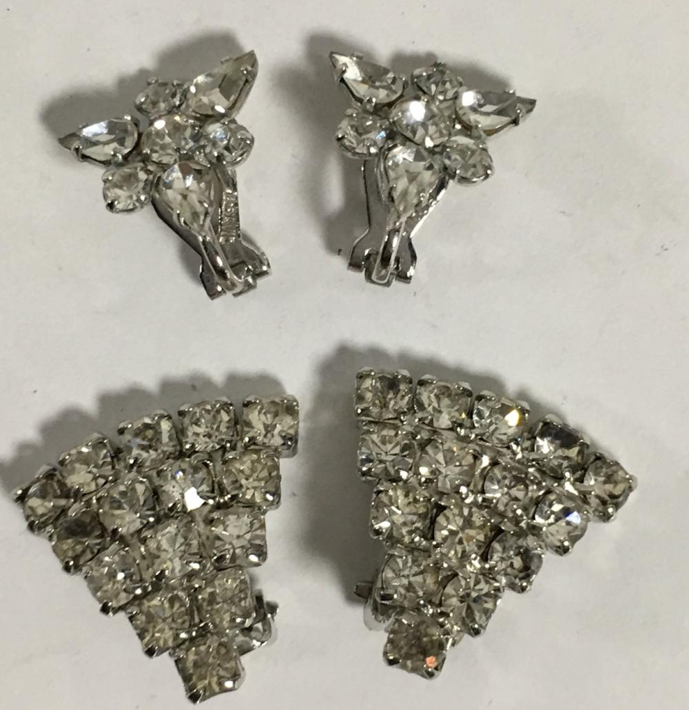 2 Pair Of Rhinestone Clip Earrings
