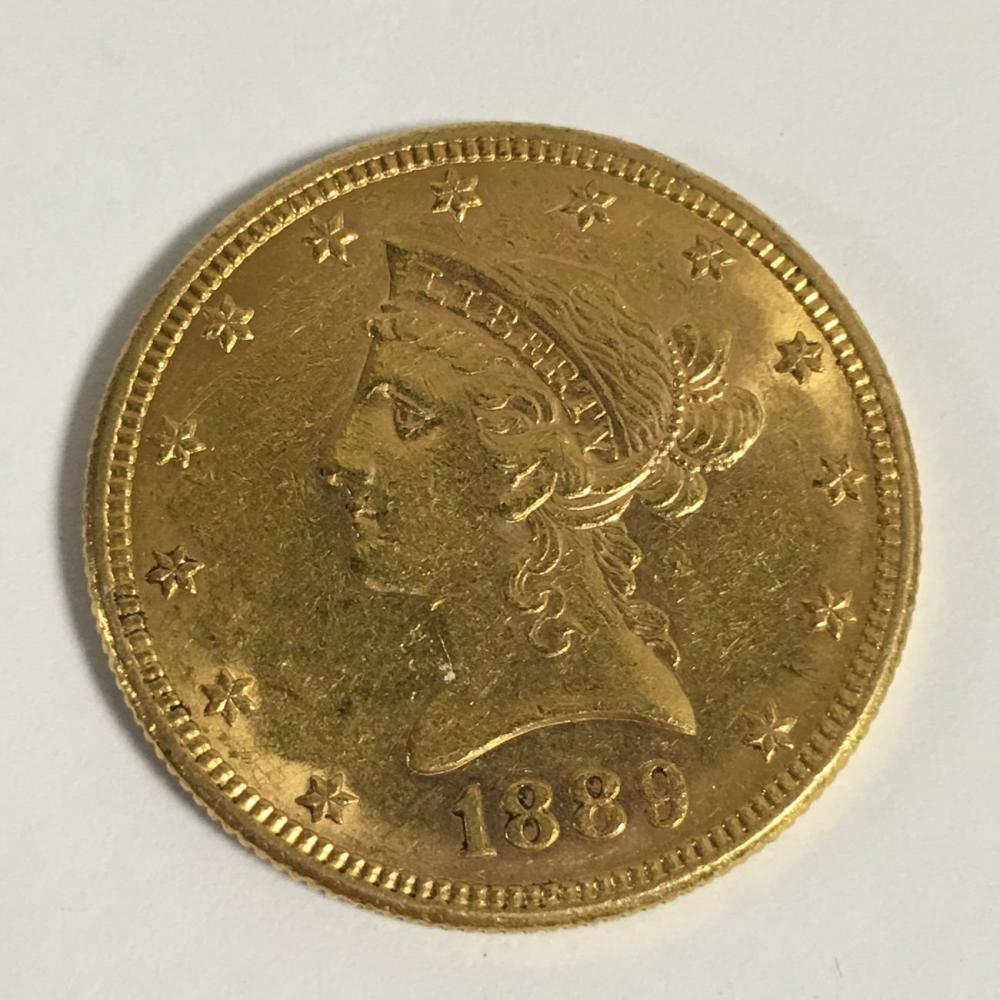 1889 Liberty Head Gold Coin, Ten Dollars