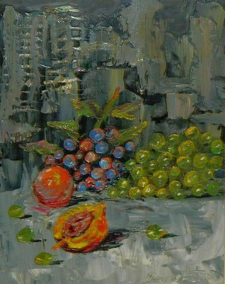 Morris katz oil on board still life of fruit for Katz fine art
