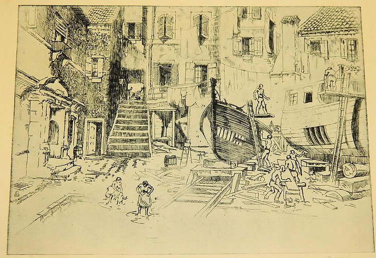 Lionel Barrymore Engraving Courtyard Venice