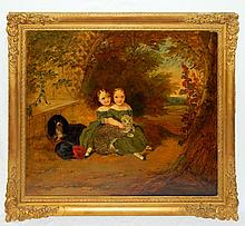 Victorian Oil on Canvas of Girls with Cat and Dog