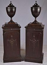 Pair of Mahogany Cutlery Urns on Matching Stands
