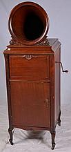 Floor Model Phonograph Cabinet with Unusual Horn