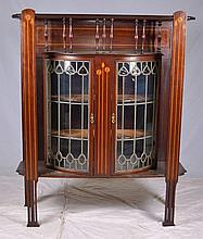 Unusual Inlaid Leaded Glass Display Case