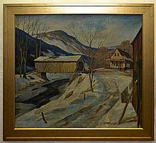 Oil on Canvas Painting of Covered Bridge
