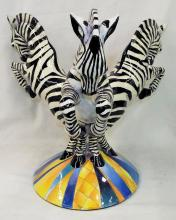 Signed Da Nisha 2003 Zebra Sculpture