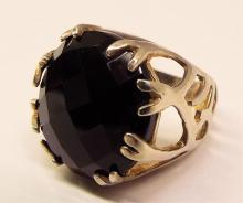 Sterling Silver Ring With Large Black Stone