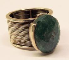 Sterling Silver Ring With Cut Green Speckled Stone