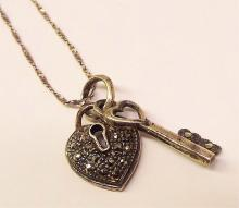 Sterling Silver Necklace With Heart & Key Pendants