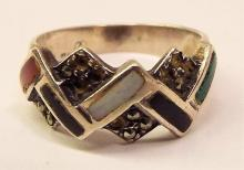 Sterling Silver & Marcasite Inlaid Stone Ring