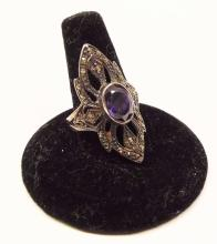 Sterling Silver & Marcasite Ring With Purple Stone