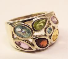 Sterling Silver Ring With Multi Colored Stones
