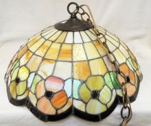 Hanging Leaded Slag Glass Lamp