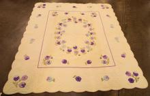Hand Sewn Quilt With Purple Flowers