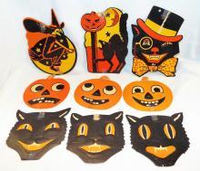 Group Of Vintage Halloween Cardboard Figures