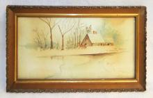 Framed Watercolor Snow Scene