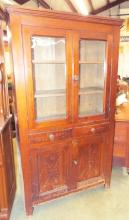 Oak Flatwall Cupboard With Spoon Carved Doors