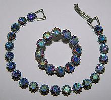 Blue rhinestone bracelet and pin