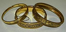 3 Gold Filled Bangle Bracelets