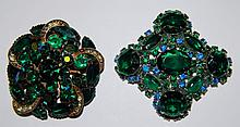 2 green rhinestone pins