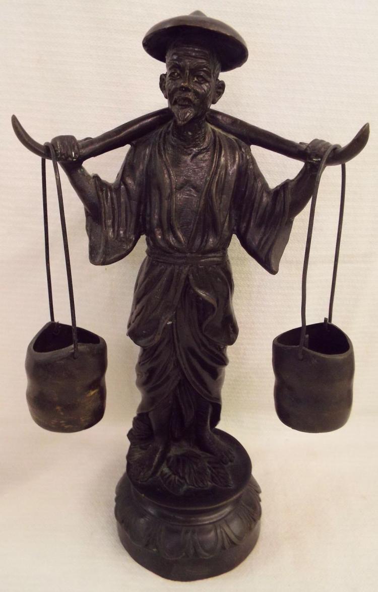 Bronze Sculpture Of Oriental Man Carrying Yoke