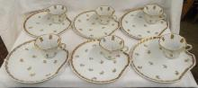 6 Piece French Porcelain Gilt Decorated Snack Set