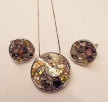 Sterling Silver & Mosaic Necklace & Earring Set