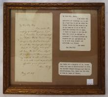 Framed Letter Dated May 4th 1837
