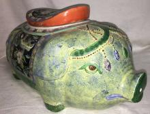 Oriental Porcelain Figural Pig Jar With Lid