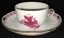 Herend Hungary Hand Painted Cup & Saucer