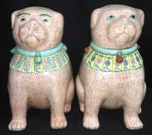 Pair Oriental Porcelain Hand Painted Figural Jars