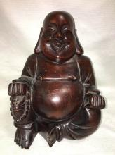 Oriental Wood Carved Buddha Sculpture