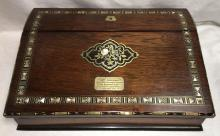 Mother Of Pearl Inlaid Lap Desk, Dated 1885