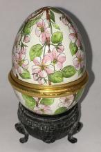 Halcyon Days Enamels Egg Trinket Box On Stand