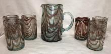 Blown Art Glass Pitcher & 6 Cups
